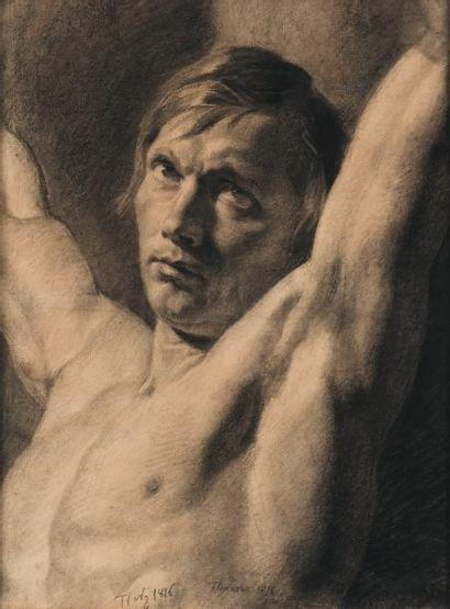 FRANÇOIS JOSEPH NAVEZ (1787-1869) Etude d'homme, 1816 Mine de plomb sur papier Signé...