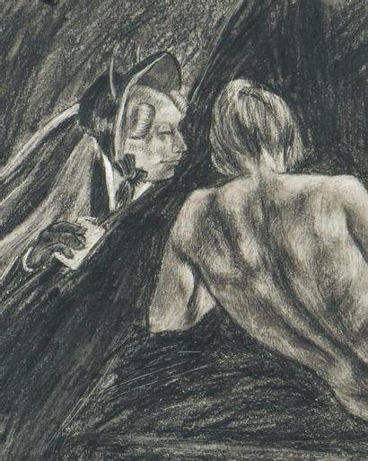 FÉLICIEN ROPS (1833-1898) La messagère du diable Crayon noir et pastel sur papier...