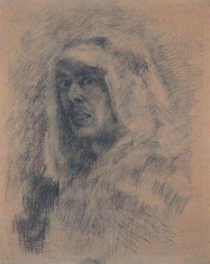 JAMES ENSOR (1860-1949) Portrait en Arabe, 1878 Fusain sur papier Signé en bas à...