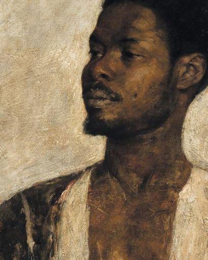 LOVIS CORINTH (1858-1925) Portrait d'Africain, 1884 Huile sur toile Signée, datée...