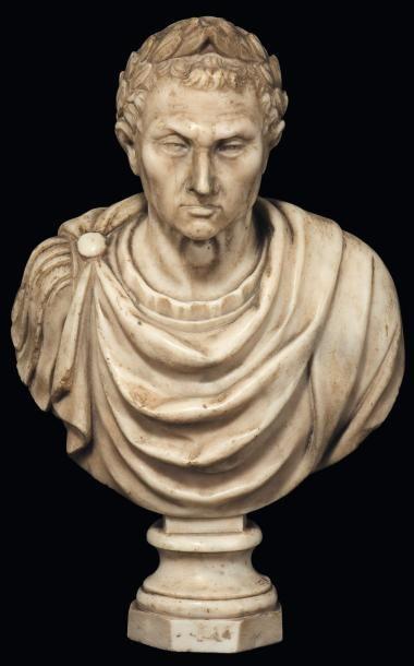 Buste de Jules César Marbre blanc sculpté...