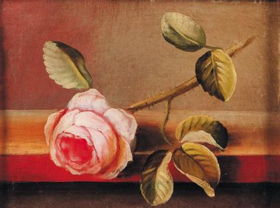 Représentation d'une rose Huile sur toile...