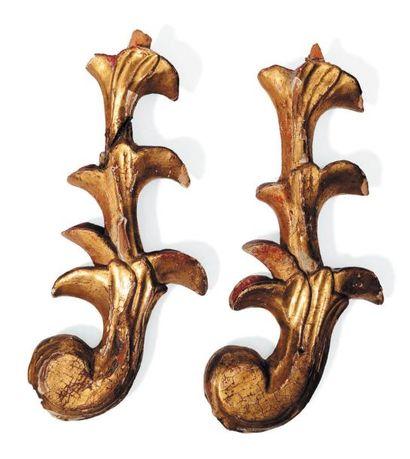 Paire d'éléments en bois doré H_28 cm L_13...