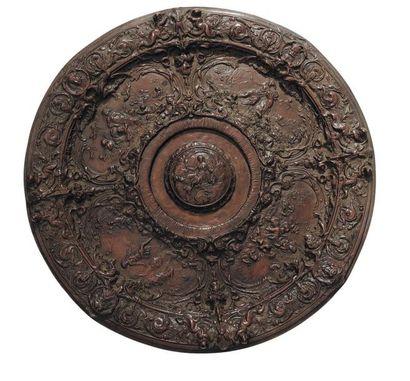 Plat en métal à décor circulaire de scènes...