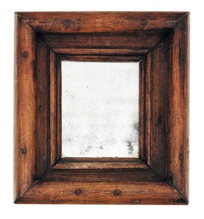 Petit miroir à large bordure en bois H_25...