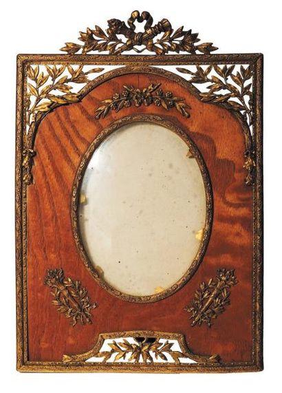Porte photo en bois et bronze H_25 cm L_17...