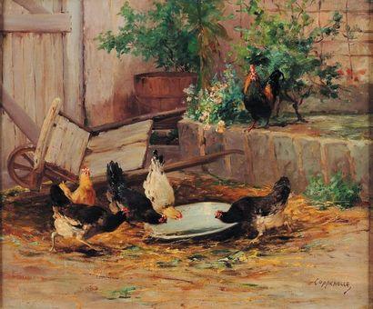 J. van Coppenole (?-1915) Poules dans une basse cour Toile signée en bas à droite...