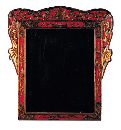 Miroir en bois laqué rouge et or Travail...