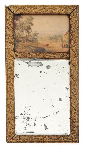 Petit trumeau en bois doré décoré d'une aquarelle...