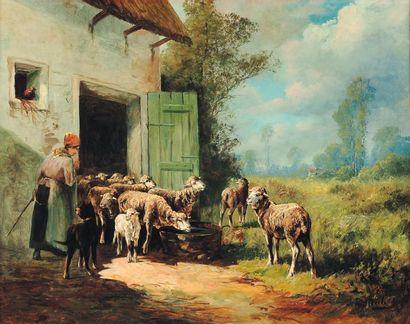 École française des XIXe et XXe siècles, J.H. Merle Bergère.Toile signée en bas à...