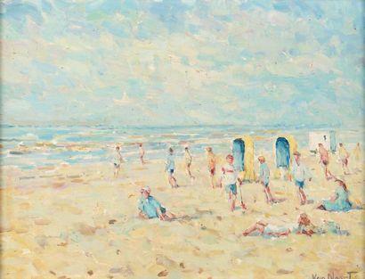 Van Noort La plage Huile sur panneau, signé en bas à droite. H_30 cm L_40 cm