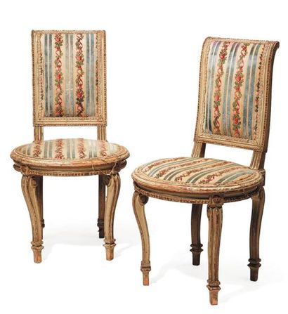 Paire de chaises d'enfant Style Louis XVI...