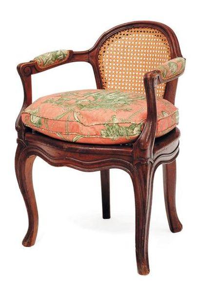 Petit fauteuil en bois naturel à fond de...