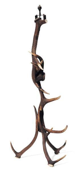 Lampadaire en bois de cerf H_120 cm