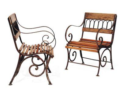 Paire de fauteuils de jardin en bois et métal...