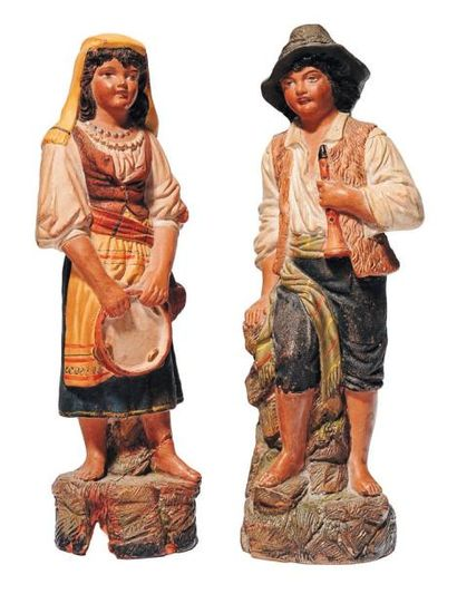 Paire de santons en terre cuite peinte (accidents)...