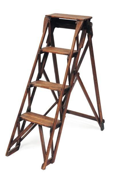 Petit escalier de bibliothèque en bois H_104...