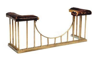 Fire stool en cuivre et cuir Travail anglais(accidents)...
