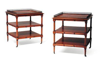 Paire de tables de salon en bois naturel...
