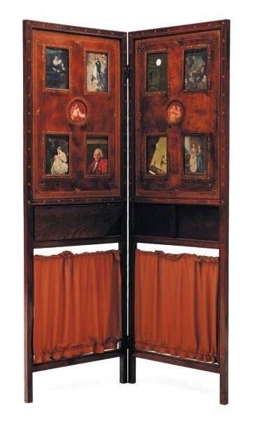 Paravent formant porte folio en cuir et palissandre...