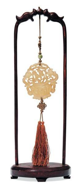 Petite plaque en jade sculpté Chine, XIXe...