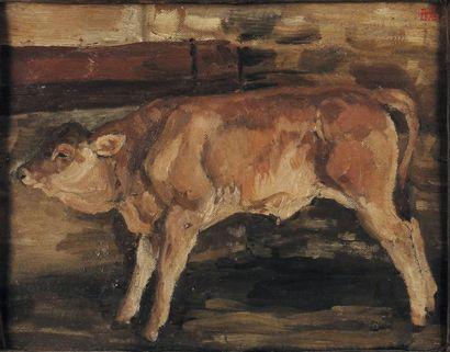 La vache Huile sur toile dans un encadrement...