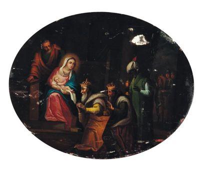 Éc. d'Eur. de l'Est du XIXe s. Adoration des mages Panneau ovale (manques) H_45 cm...