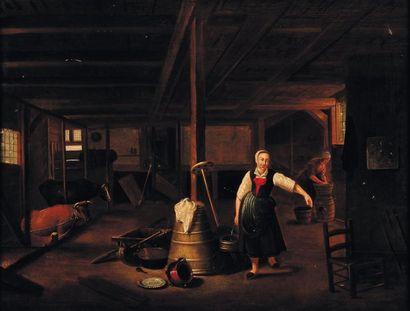 Att. à G. D. Camphu ysen (1623-1672) Jeune fermière Panneau de chêne (rest.) H_53...