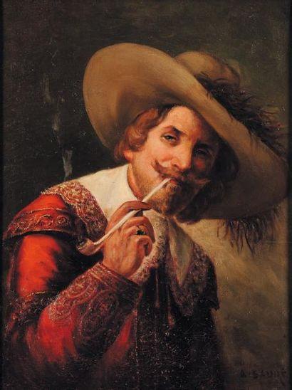 Éc. fr.du XXe s., A. Saure Portrait de mousquetaire fumant. Toile signée en bas à...