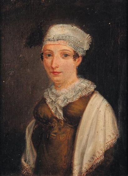Femme au bonnet en dentelle Huile sur toile...