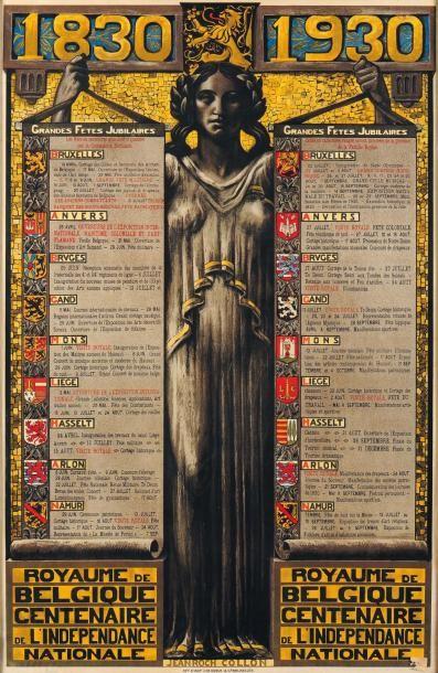 J.R.COLLON Affiche des grandes fêtes jubilaires de Belgique 1830-1930 Lithographie....