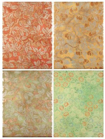 FRANK D'ANVERS Ensemble de quatre panneaux décoratifs Toiles peintes façon papier...
