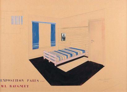 M.LOUIS BAUGNIET (1896-1995) Chambre à coucher, 1947 Gouache sur papier. H_49 cm...