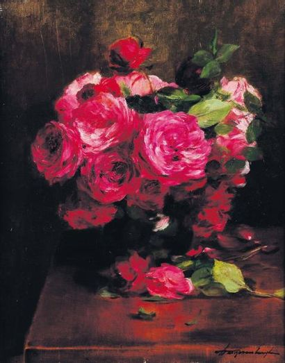 G.VANZEVENBERGHEN (1877-1968) Bouquet de roses Huile sur toile, signée en bas à droite....