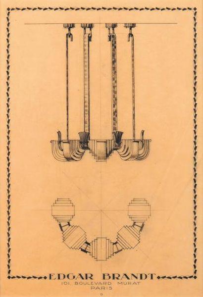 EDGAR BRANDT (1880-1960) ? Croquis d'un plafonnier Dessin à la mine de plomb sur...