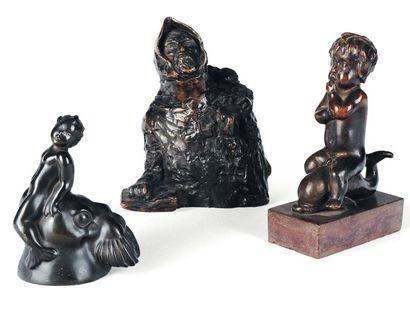 Ensemble de trois sculptures en bronze «...