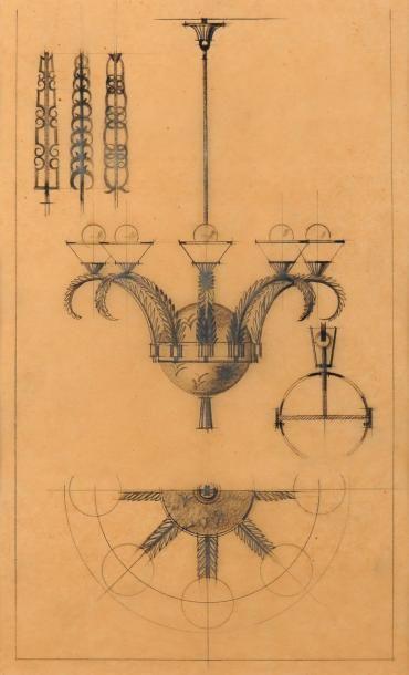 EDGAR BRANDT (1860-1980) (dans le gout de ) Six croquis et études de lustres Dessins...
