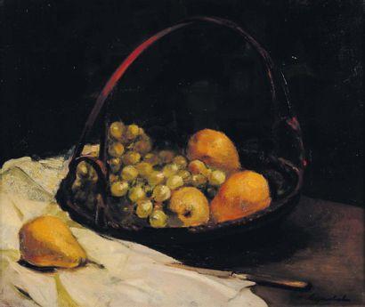 G.VANZEVENBERGHEN (1877-1968) Nature morte au panier de fruits Huile sur toile, signée...