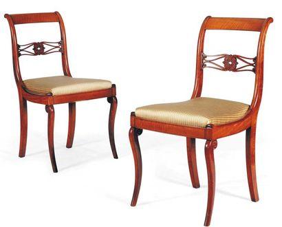 Paire de chaises en citronnier. Fin du XIXe...