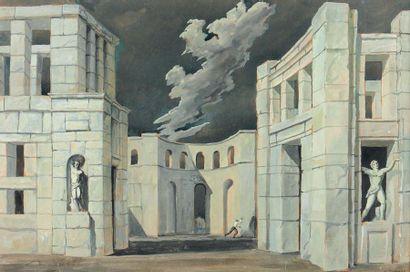 NICOLAS ISZELENOV (1891-1981) Nocturne, 1935 Gouache sur carton, signée et datée...