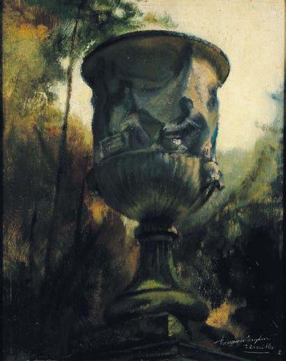 G.VANZEVENBERGHEN (1877-1968) Parc de Versailles, 1921 Huile sur panneau, signée,...