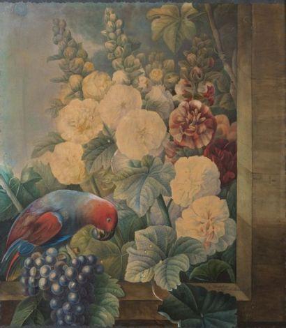 D'APRÈS PIERRE-JOSEPH REDOUTÉ Perroquet parmi les fleurs Gouache sur papier signée...