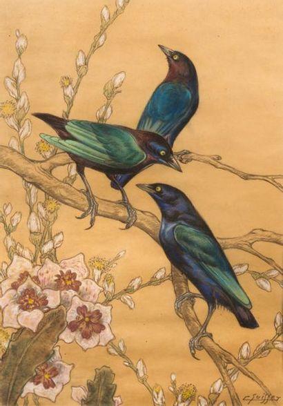 GASTON SUISSE (1896-1988) Merles sur des branchages fleuris Pastel et rehauts de...