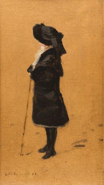 Luigi LOIR (1845-1916) Elégante à la canne Huile sur toile signée en bas à gauche...