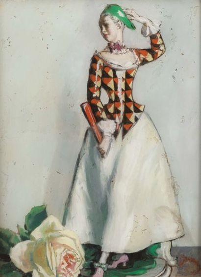 RENÉ DRIAN (1885-1961) Colombine à la rose blanche Fixé sous verre signé en bas à...