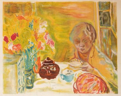 Pierre BONNARD (1867-1947) Jeune femme dans son intérieur Lithographie H_74 cm L_98...