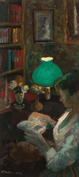 Emilio Grau Sala (1911-1975) Jeune femme lisant Huile sur panneau Signée en bas à...
