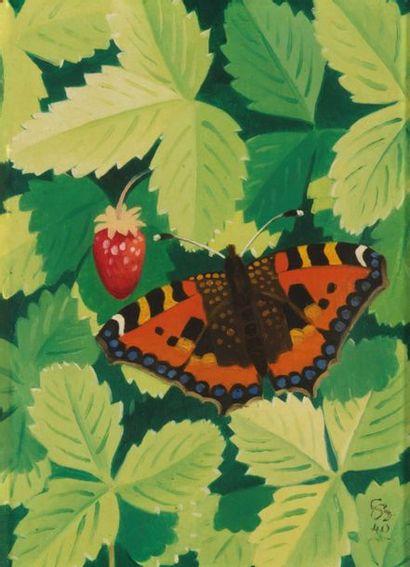 Simon Albert BUSSY (1869-1954) Papillon Huile sur toile monogrammée SB en bas à droite...