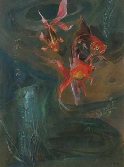 Jacques NAM (1881-1974) Poissons rouges Gouache sur papier Signée en bas à droite...