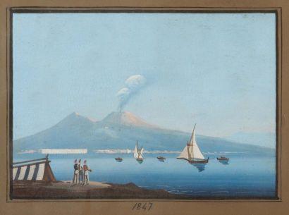 École Napolitaine du XIXe siècle Vue du Vésuve Gouache sur papier datée 1847 H_16...